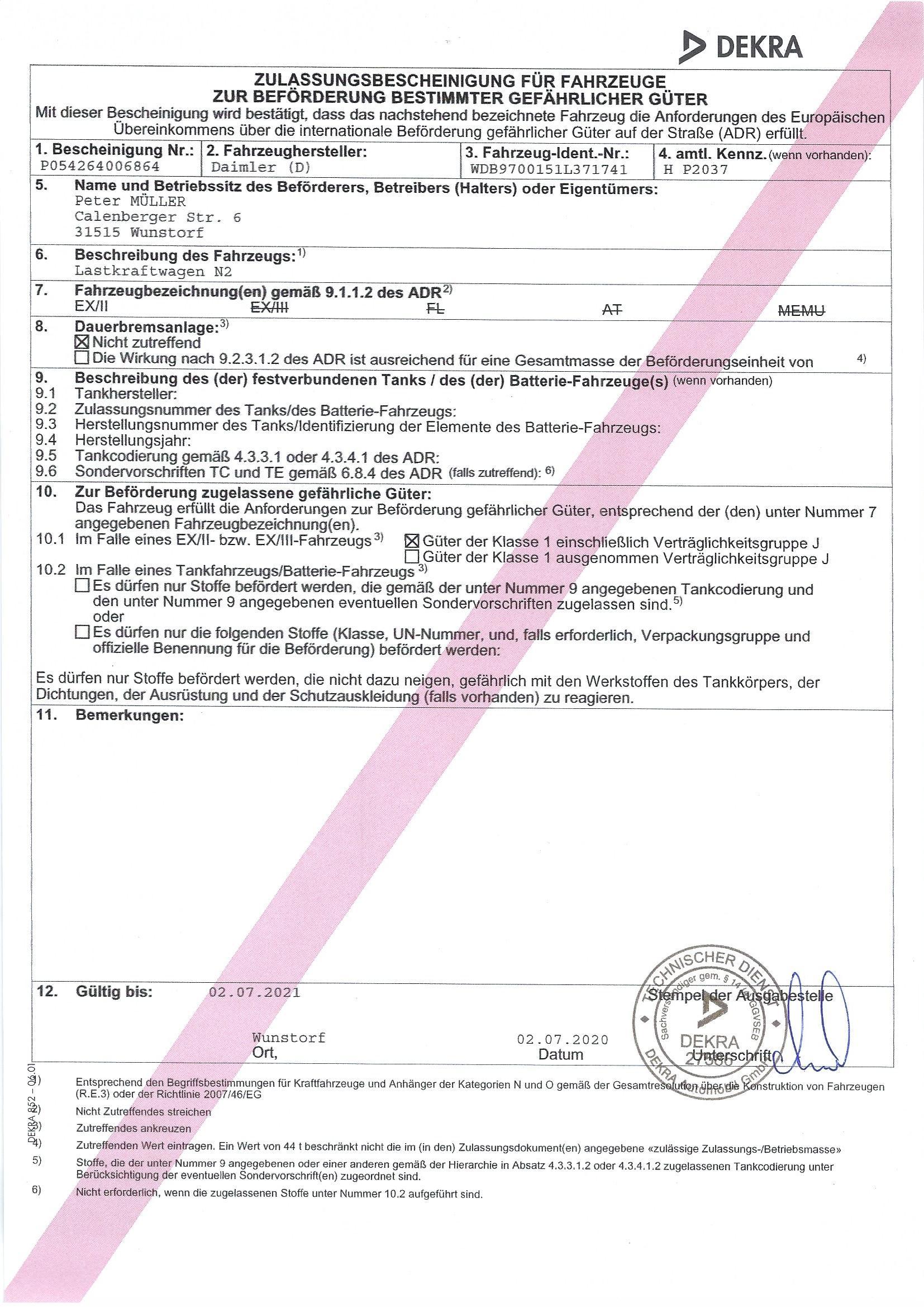 EX II Zulassung H-P 2037